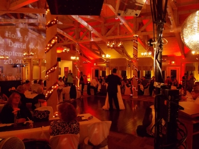 Wedding Reception with Red Uplighting & LED Monogram