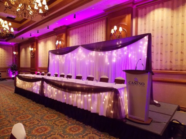 LED Uplighting & Head Table for Wedding in Halifax, Nova Scotia, Professional Wedding DJ in Halifax, Nova Scotia