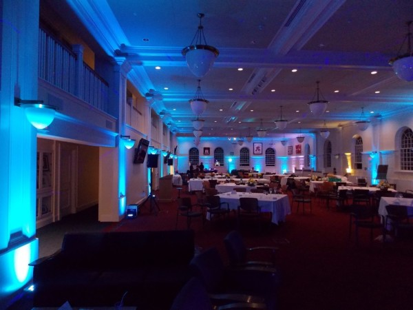 Blue LED Uplighting placed in Large Room, Wedding DJ in Wolfville, Nova Scotia
