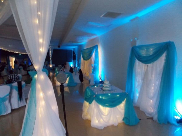 Blue LED Uplighting behind the Cake Table in New Minas, Nova Scotia, Wedding DJ in Annapolis Valley, Nova Scotia