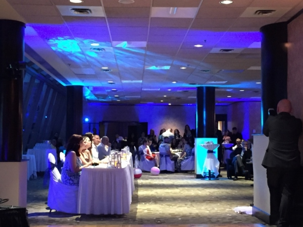 Blue LED Uplighting and LED Water Effects, Wedding DJ in Halifax, Nova Scotia, Canada