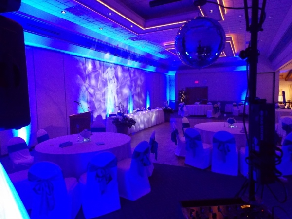 Blue LED Uplighting with LED Monogram, Wedding DJ in Annapolis Valley, Nova Scotia