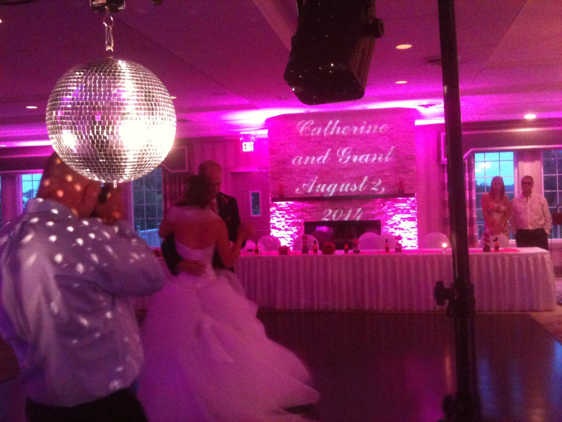 Pink LED Uplighting and Personalized Monogram, Wedding DJ in Halifax, Nova Scotia